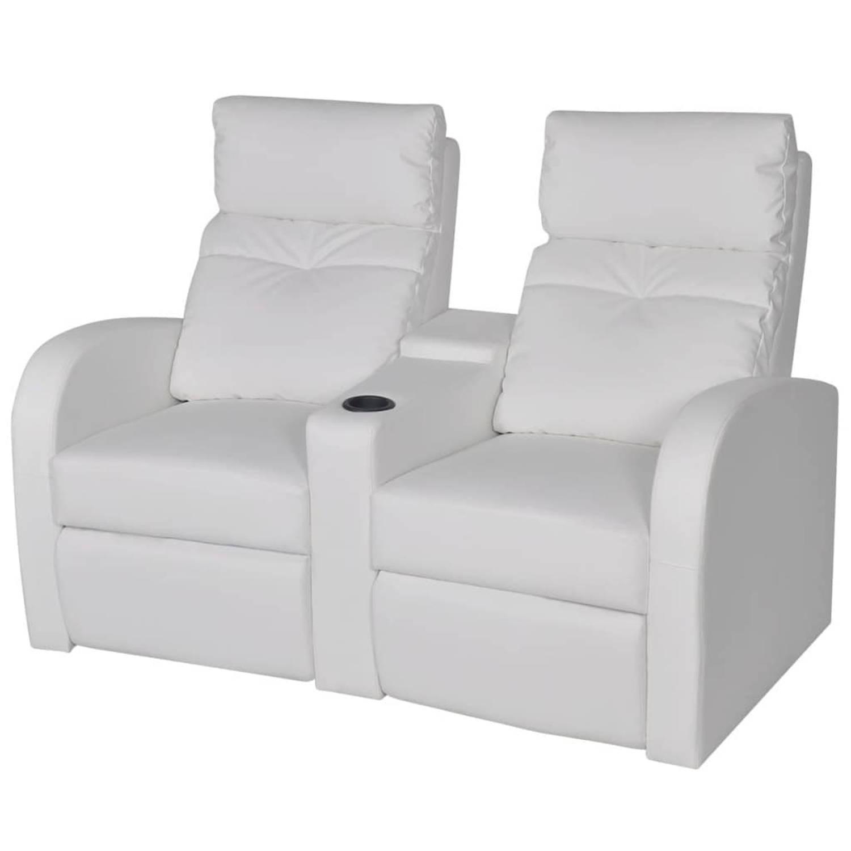 vidaXL Dubbele relaxfauteuil met middenleuning kunstleer wit