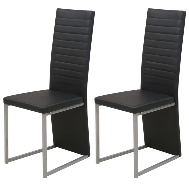 vidaXL Eetkamerstoel minimalistische doorlopende leuning zwart 2 st