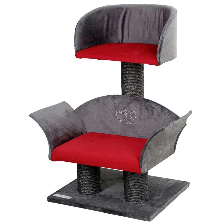 Kerbl Krabpaal Lounge Deluxe grijs en rood 81548