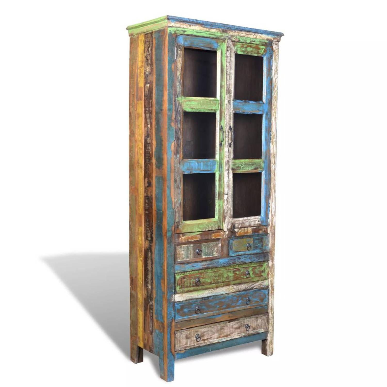 Boekenkast gerecycled hout met 5 lades en 2 deurtjes