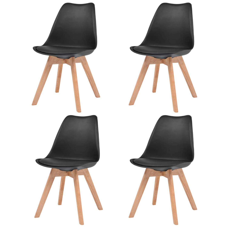 vidaXL Eetkamerstoelen kunstleer massief hout zwart 4 st