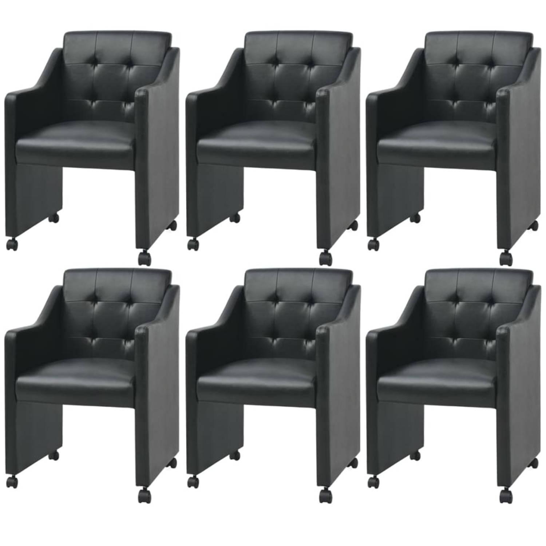 vidaXL Eetkamerstoelen 6 stuks zwart 59 x 57,5 x 86,5 cm