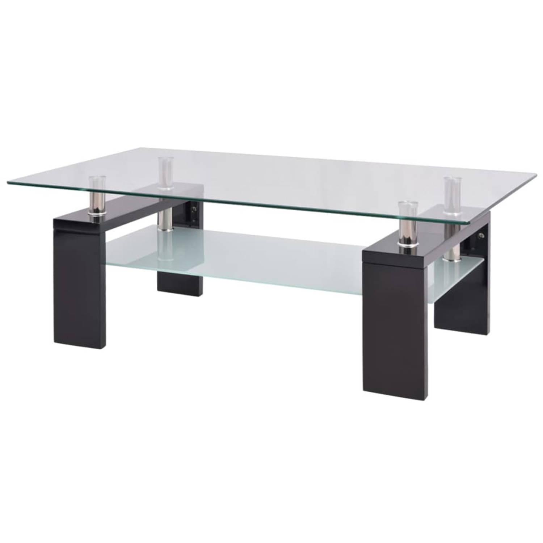 vidaXL Hoogglans salontafel met legplank 110x60x40 cm zwart