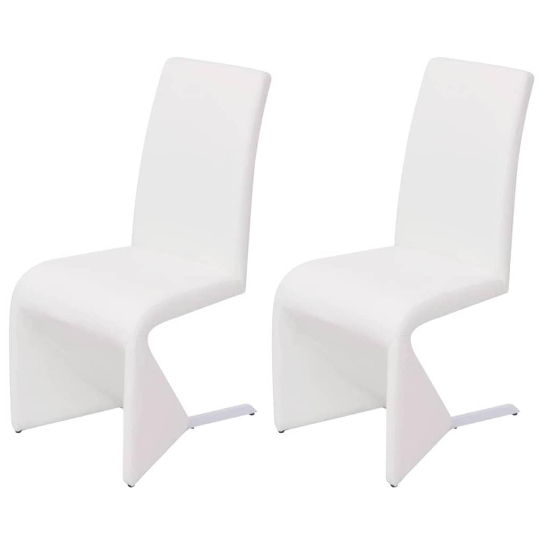 Image of vidaXL Cantilever eetkamerstoelen 2 stuks kunstleer wit