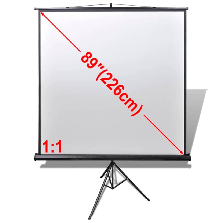 vidaXL Projectiescherm wit + statief 160 x 160 cm (1:1 formaat)