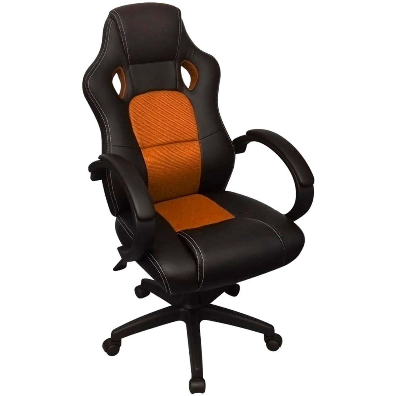 vidaXL professionele bureaustoel racing oranje kunstleer
