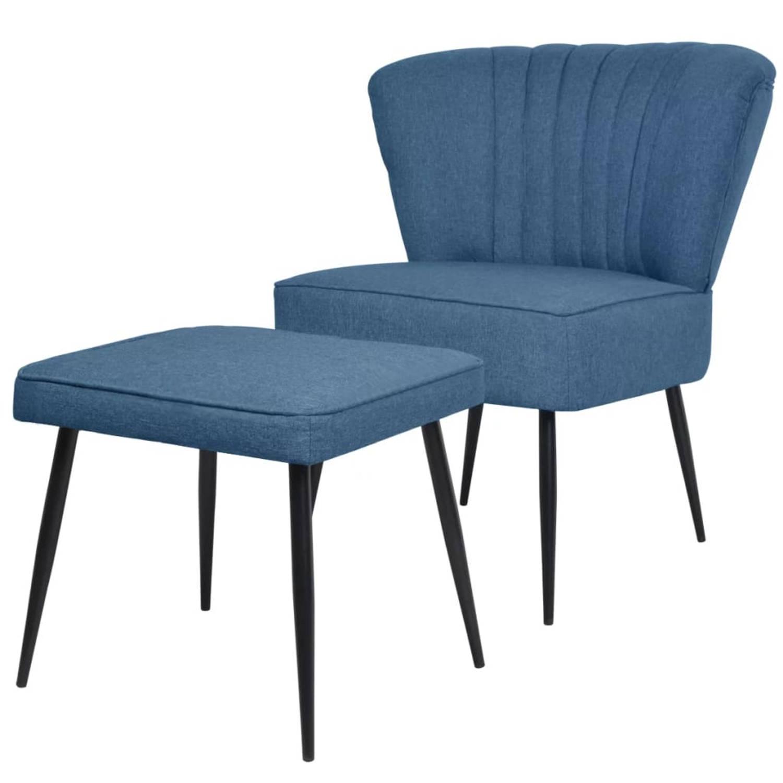 vidaXL Cocktail stoel met voetenbank stof blauw