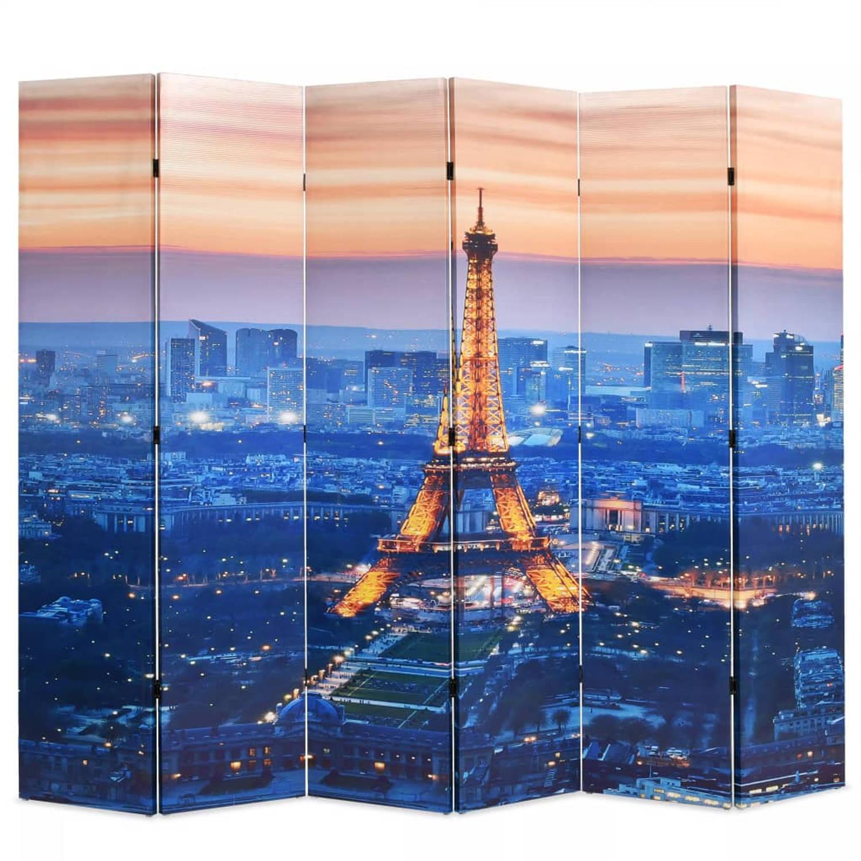 Image of vidaXL Kamerverdeler inklapbaar Parijs bij nacht 228x180 cm