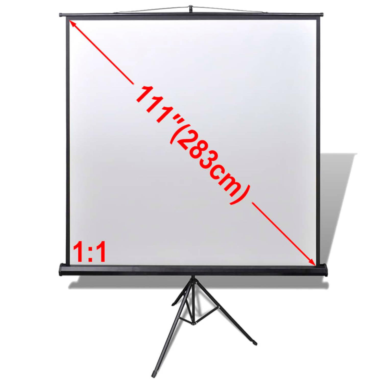 vidaXL Projectiescherm wit + in hoogte verstelbaar statief 200 x 200 cm (1:1)