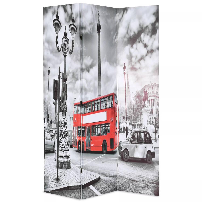 vidaXL Kamerverdeler inklapbaar Londen bus 120x180 cm zwart en wit