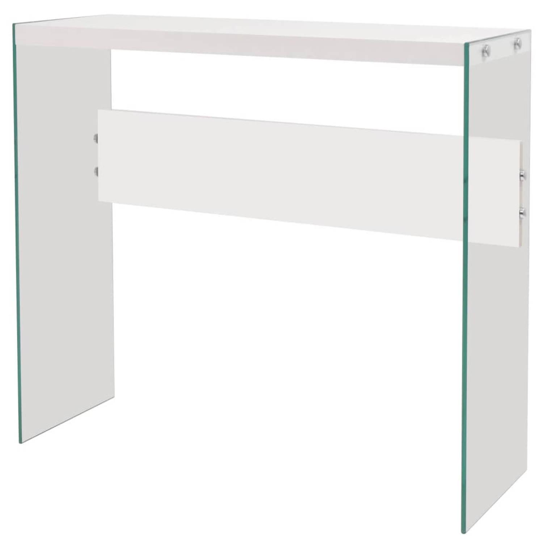 vidaXL Wandtafel glas MDF hoogglans wit