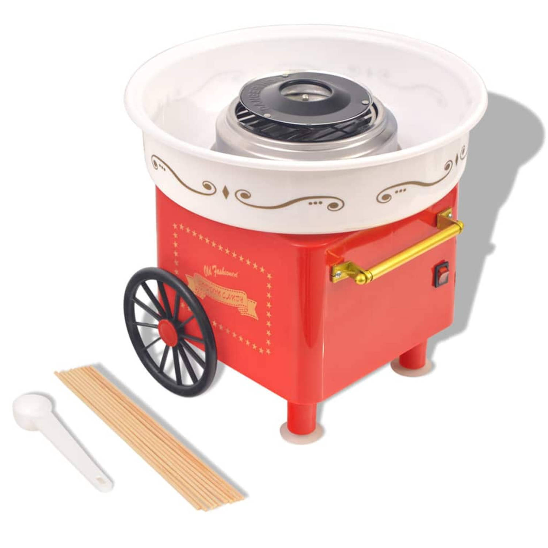 vidaXL Suikerspinmachine op wieltjes 480 W rood