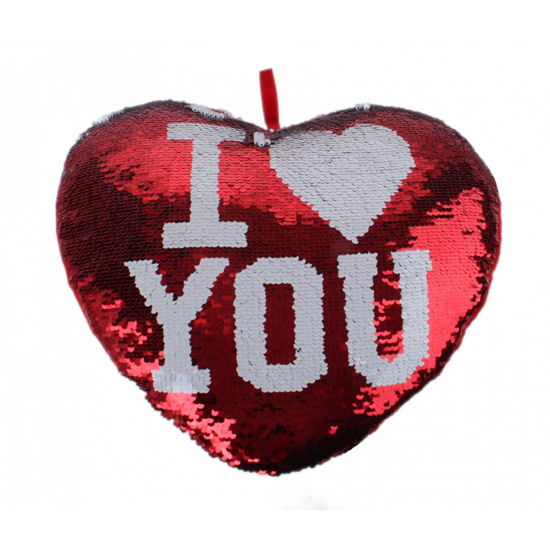 LG-Imports kussen met pailletten hartvormig 35 cm rood