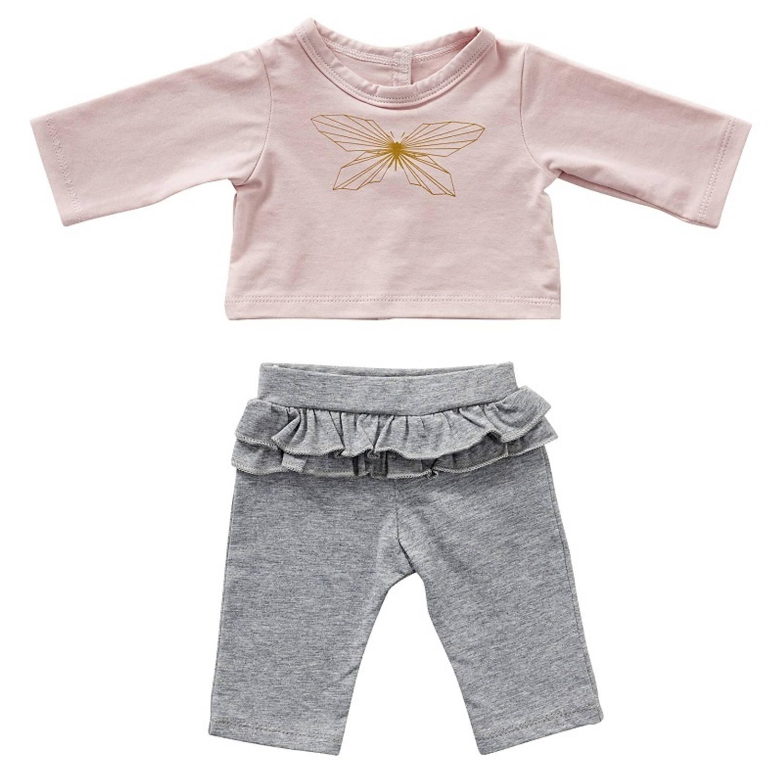 byAstrup kledingset babypop 35 cm grijs/roze