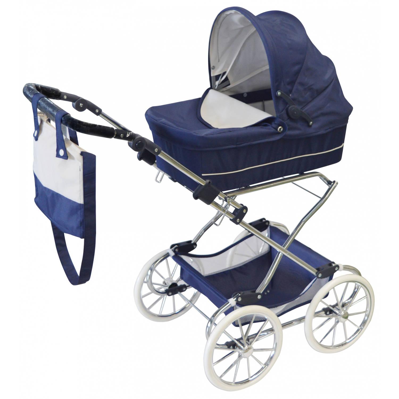 byAstrup luxe poppenwagen 98 cm klassiek blauw