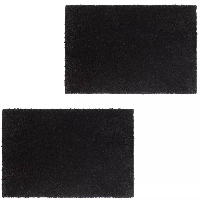 vidaXL Deurmatten 17 mm 50x80 cm koksvezel zwart 2 st