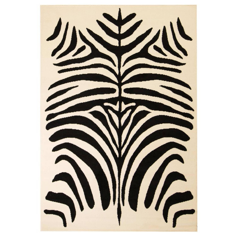 vidaXL Vloerkleed modern zebra ontwerp 140x200 cm beige/zwart