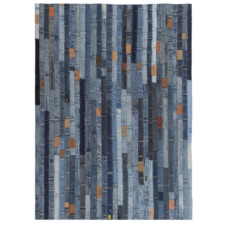 vidaXL Tapijt jeans tailleband patchwork 160x230 cm denim blauw