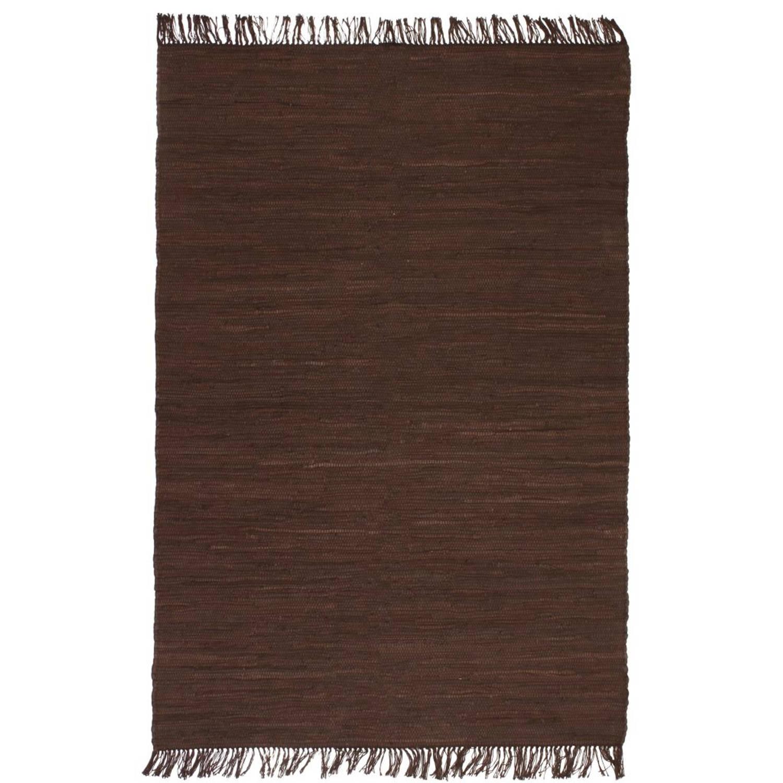 vidaXL Vloerkleed Chindi handgeweven 160x230 cm katoen bruin