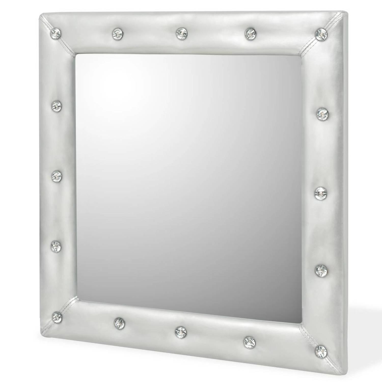 vidaXL Wandspiegel 60x60 cm kunstleer glanzend zilver