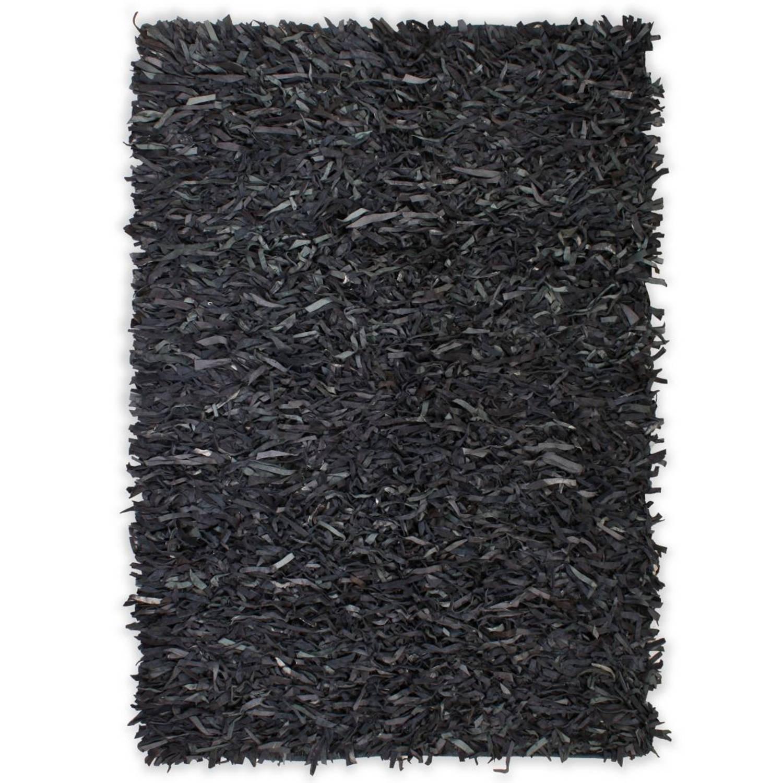 vidaXL Tapijt shaggy hoogpolig 120x170 cm echt leer grijs