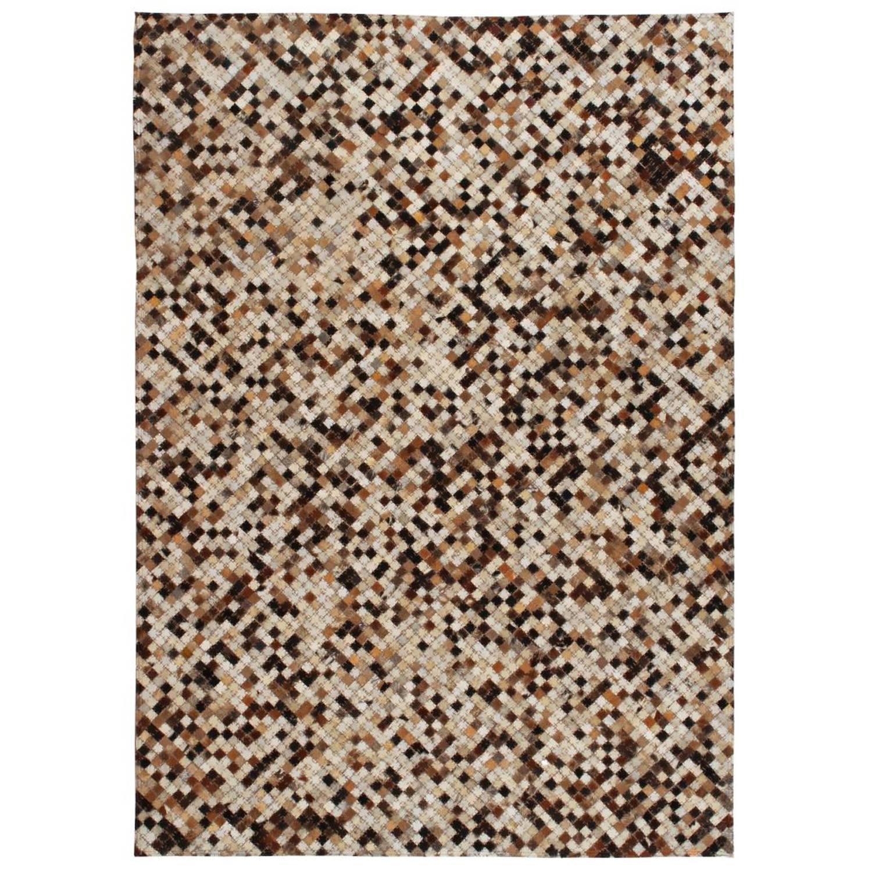 vidaXL Tapijt vierkant patchwork 160x230 cm echt leer bruin/wit