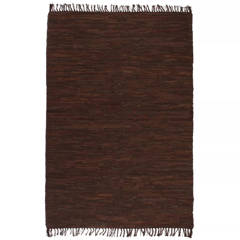 vidaXL Vloerkleed Chindi handgeweven 160x230 cm leer bruin