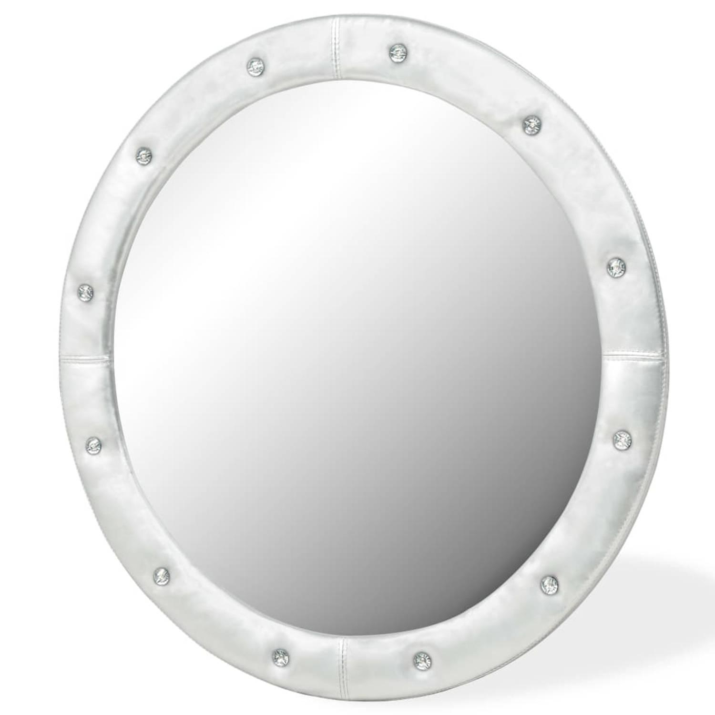 vidaXL Wandspiegel 80 cm kunstleer glanzend zilver