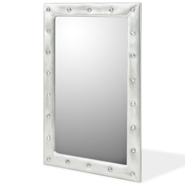vidaXL Wandspiegel 60x90 cm kunstleer glanzend zilver