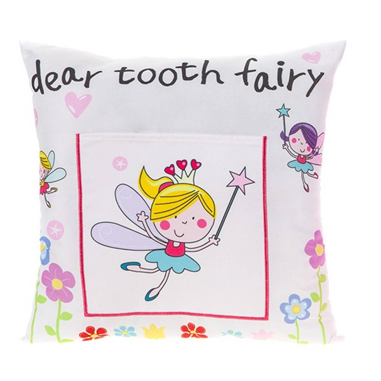 Kamparo kussen Tooth Fairy 30 x 30 cm wit