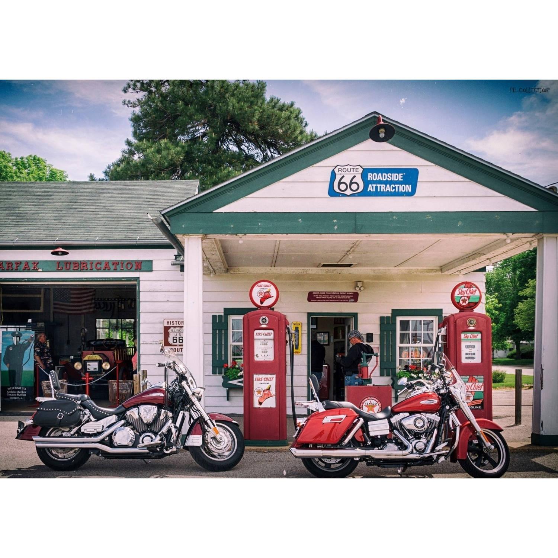 2 Stuks Tuinschilderij Motorcycle Gasstation 50x70cm