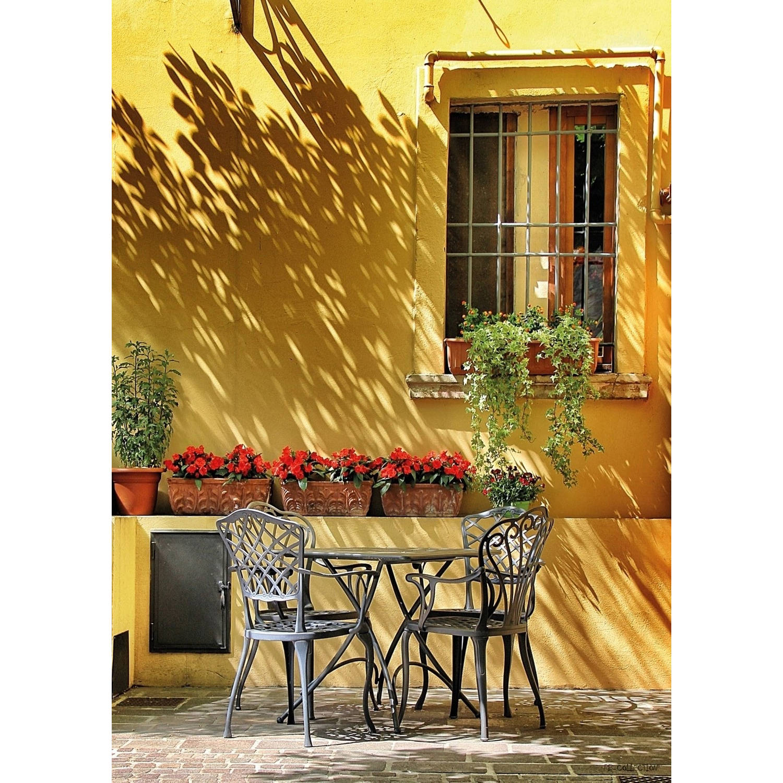 2 Stuks Tuinschilderij Terrace Yellow Wall 50x70cm