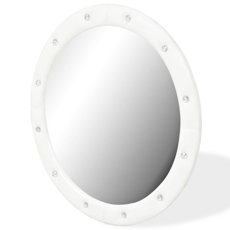 vidaXL Wandspiegel 80 cm kunstleer glanzend wit