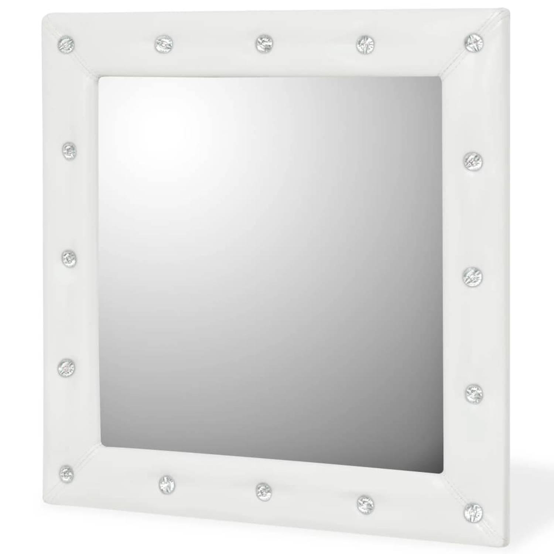 vidaXL Wandspiegel 60x60 cm kunstleer glanzend wit