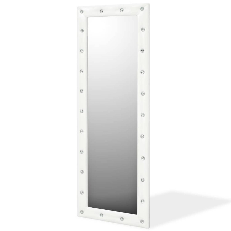 vidaXL Wandspiegel 50x140 cm kunstleer glanzend wit