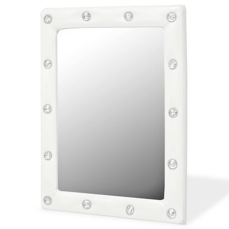 vidaXL Wandspiegel 40x50 cm kunstleer glanzend wit