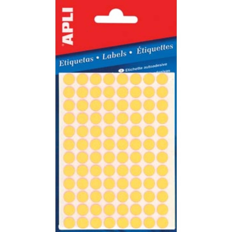 Korting Apli Ronde Etiketten In Etui Diameter 8 Mm, Fluo Geel, 288 Stuks, 96 Per Blad (2079)