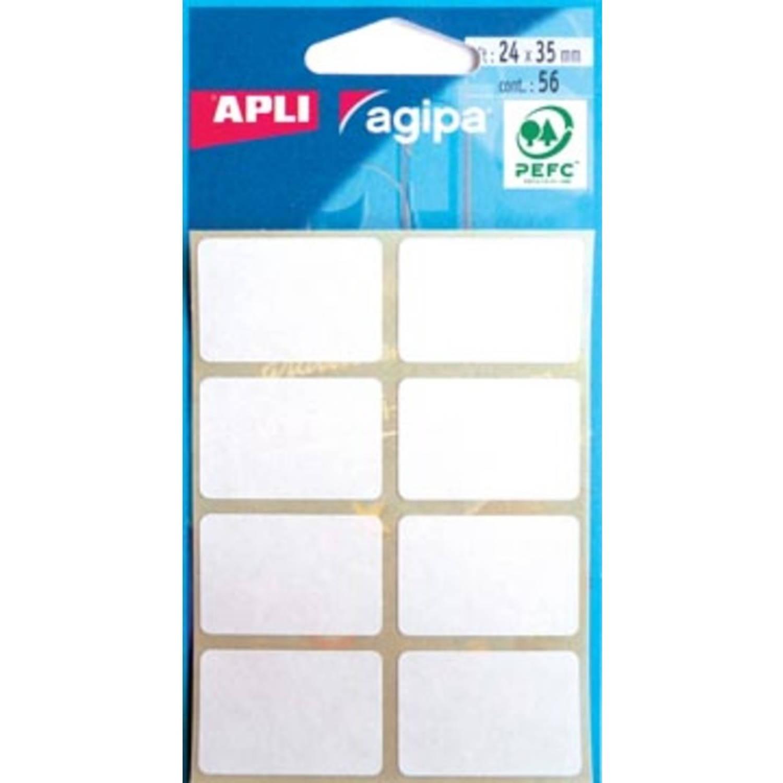 Korting Agipa Witte Etiketten In Etui Ft 24 X 35 Mm (B X H), 56 Stuks, 8 Per Blad