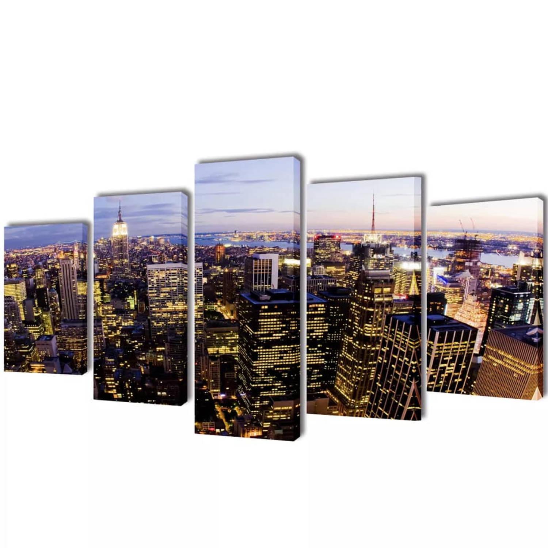 Canvasdoeken New York In Vogelperspectief 100 X 50 Cm