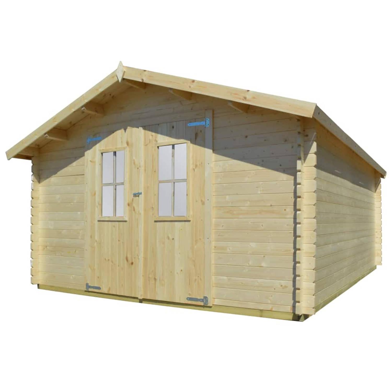 vidaXL Tuinhuis 4x4 m 34 mm massief hout