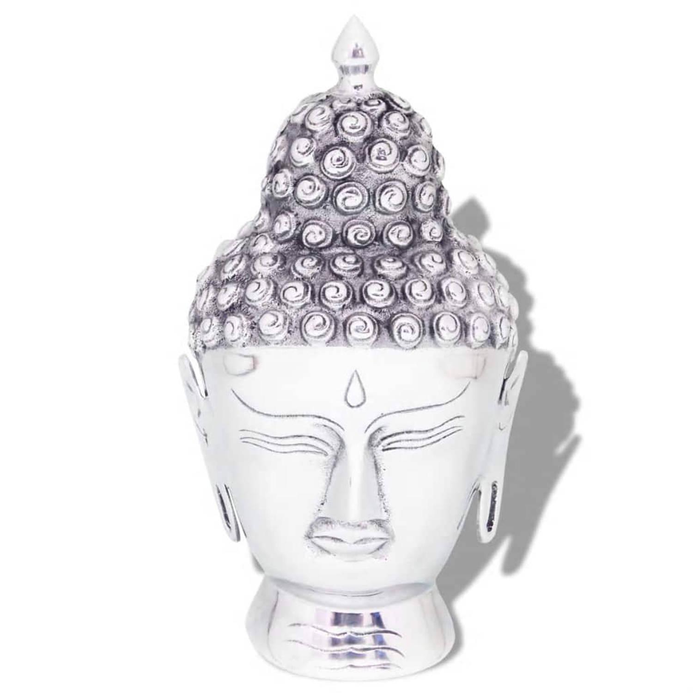VidaXL Boeddhahoofd ornament aluminium zilver