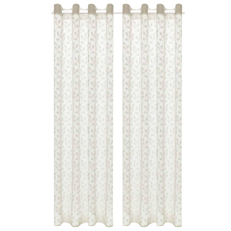 vidaXL Glasgordijnen warp-gebreid 140x225 cm bladeren crème 2 st