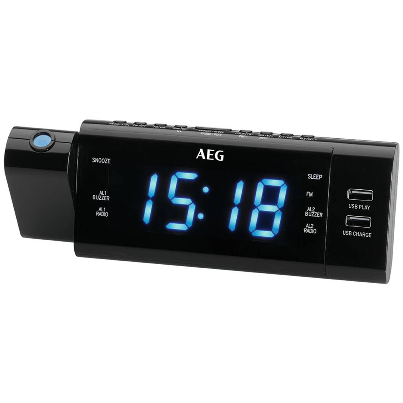 AEG Wekkerradio met tijdprojectie MRC 4159 P zwart