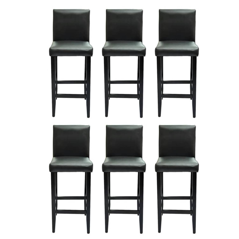 vidaXL Barkrukken modern kunstleer zwart 6 st