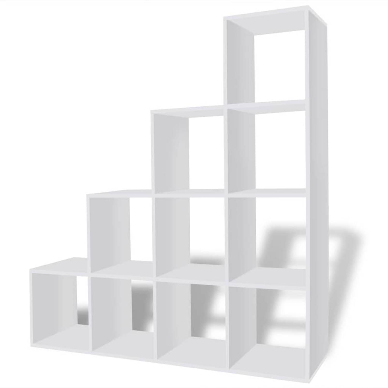 vidaXL Boekenkast/presentatiemeubel trapvormig 142 cm wit