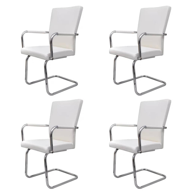 vidaXL Eetkamerstoelen modern design kunstleer wit 4 st