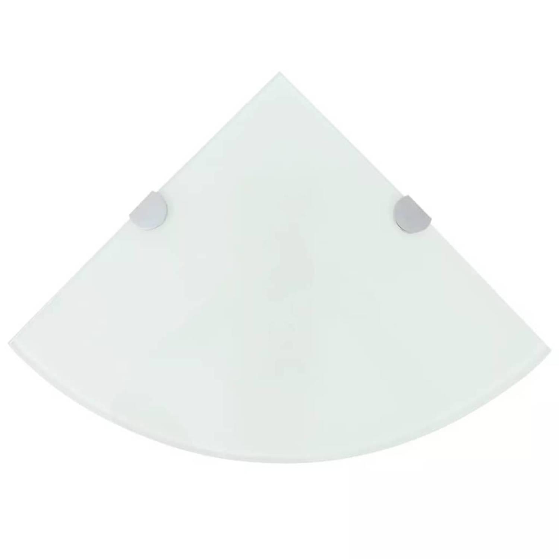 vidaXL Hoekschap met chromen dragers wit 25x25 cm glas