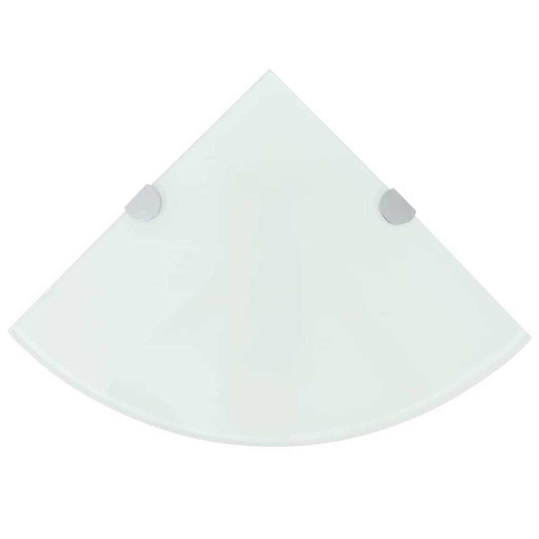 vidaXL Hoekschap met chromen dragers wit 35x35 cm glas
