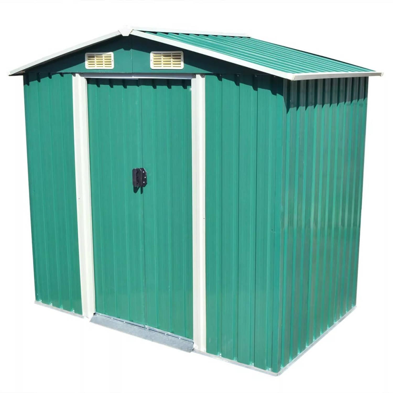 vidaXL Tuinhuis 204x132x186 cm metaal groen