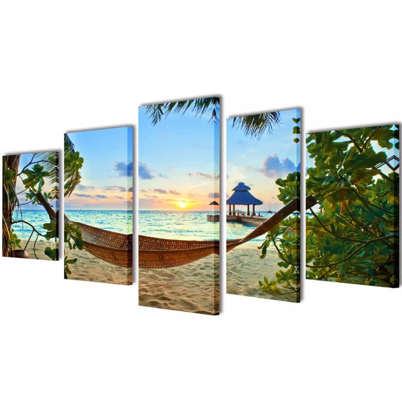 Canvasdoeken Zandstrand Met Hangmat 100 X 50 Cm